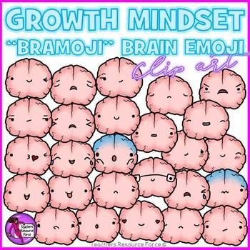Growth Mindset Brain Emoji smiley faces clip art showing different emotions! A 52 piece high quality set of hand rendered clip art containing a huge variety of different smiley face emoji emoticons!
