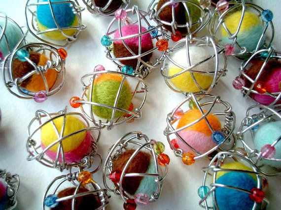 Christmas Ornament, Party, favor, Potassium, Atomic Ball, felt ball, felt pom pom, atom, ball, kid, boy, girl, beads, toy, party, keychain