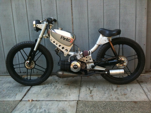 JC Penney Pinto Moped Race Version. Lot's of love and work to transform The Pinto into this Classic! Cool Mopeds / Custom Mopeds