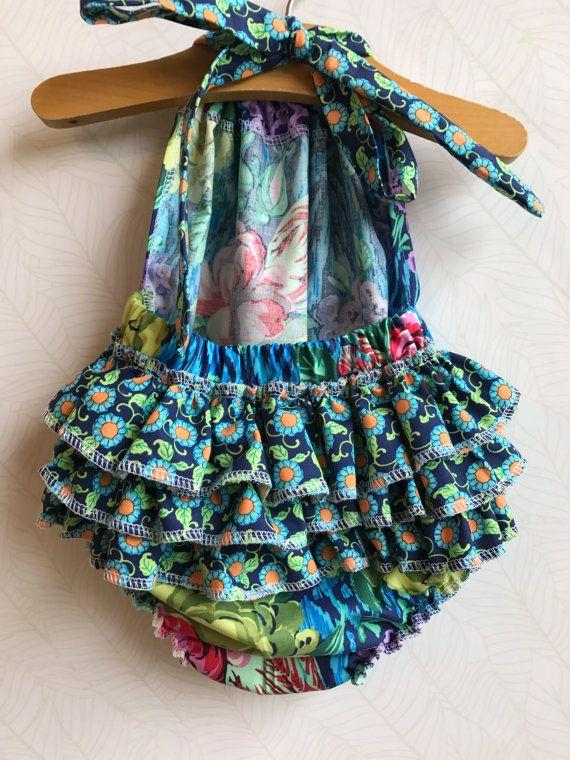 Midnight Rose Ruffled Baby Girl Romper. Baby Girl by ALittleArrow
