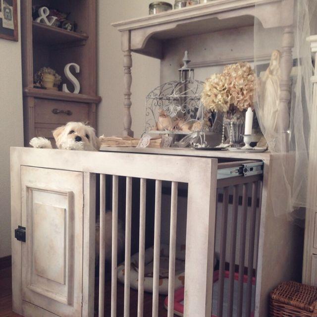 saqura_apartment101さんの、ドッグゲージ,DIY,DIYの棚,ブログしています♡,パーツオーダー,Wood Artist Hiko,アンティーク,ペットインテリア,リビング,のお部屋写真