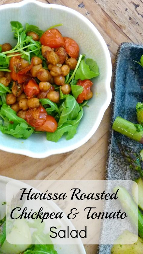 Harissa Roasted Chickpea & Tomato Salad Easy, Protein Rich, vegan salad recipe that packs a punch. Perfect for picnics, BBQ & summer lunches.