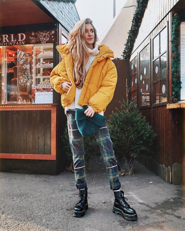 Plaid Pants Yellow Puffer Coat Doc Martens Casual Fall