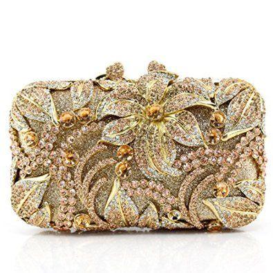 Your Gallery Women's Bling Luxury Full Rhinestone Crystal Flower Box Clutch Minaudiere