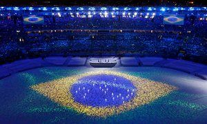 A subtle reminder that the Games took place in Brazil
