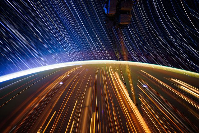 Star trails as seen from the ISS.      by NASA_JSC_Photo, via FlickrExposure Photographers, Trail Composition, Stars Trail, International Spaces, Long Exposure Photos, Spaces Stations, Don Pettit, Trail Image, Photos Shared