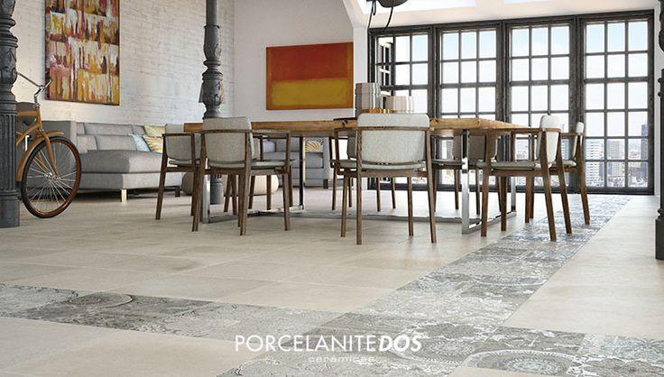 La mejor decoración con baldosas ceramicas imitación piedra para salones