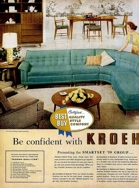 kroehler furniture co couches interiors vintageous then pinterest couch and furniture - Kroehler Furniture