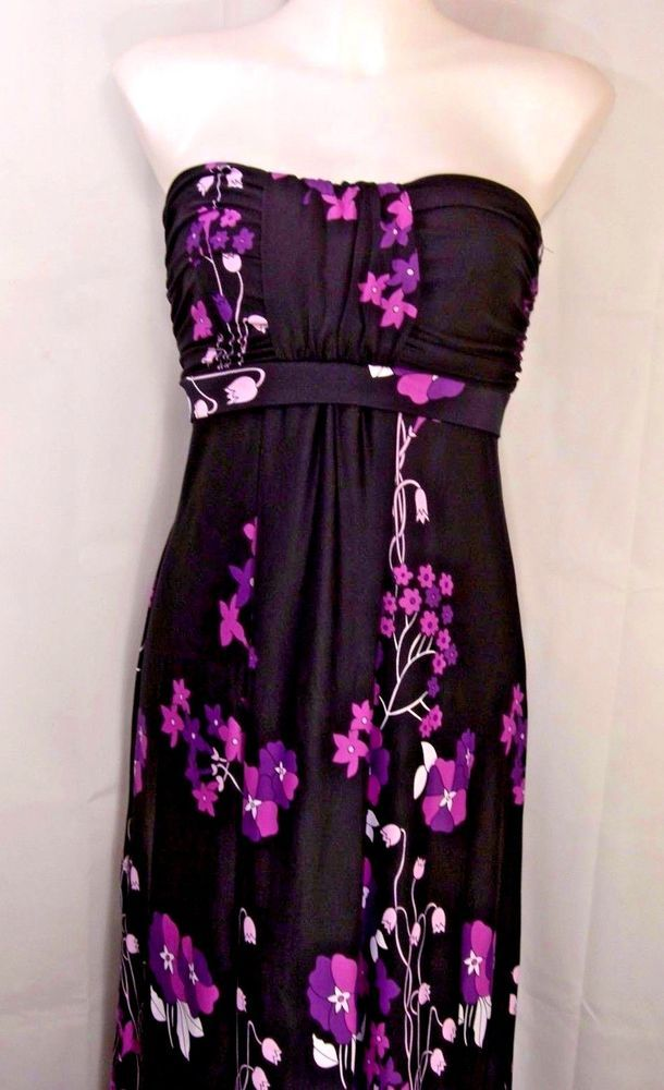 L11/13~Black Floral Print Strapless Maxi Dress~Ruched Top~Empire~Party~Retro #NYPnotick #EmpireWaistMaxi #CocktailParty