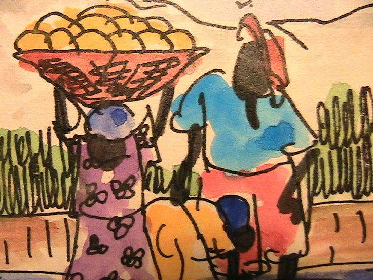 Pair of Jamaica Paintings Small Size Watercolor Beach Scenes w/ 3 Jamaican Women