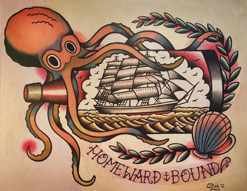 Polpo e nave in una bottiglia vecchia scuola Tattoo Flash foglio