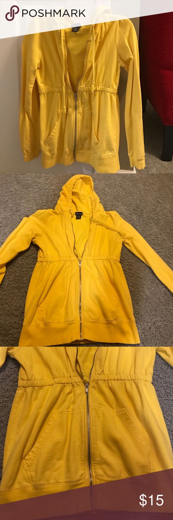 Wet seal yellow zip up jacket Yellow, zips all the way, pockets on front, hood, cinched at waist, size medium Wet Seal Jackets & Coats