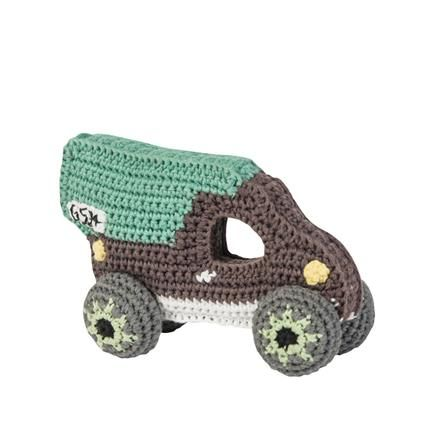 Crocheted Rattle, pastel green Truck, Karl Malmvall, Sebra
