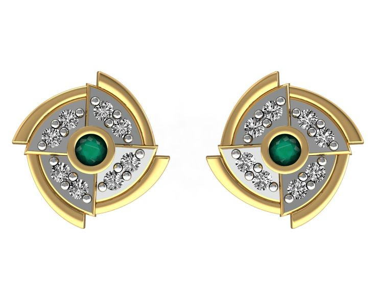 Solid 18k Yellow Gold Emerald Designer Stud Earrings Certified Diamond Jewelry