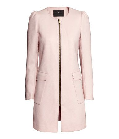 Pastel pink textured coat with front zip & side pockets.   H&M Pastels