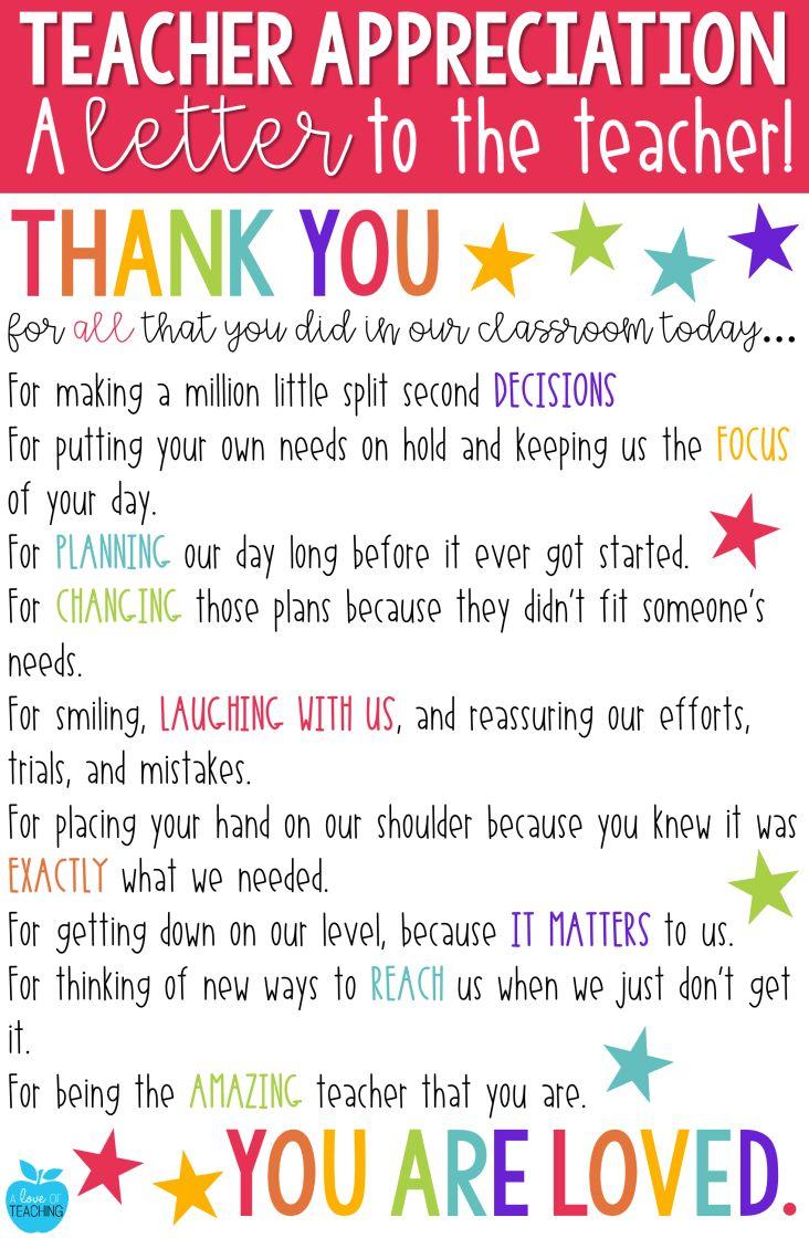 Teacher Appreciation: A FREE LETTER to the Teacher ...