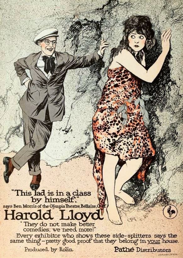 Ad for Harold Lloyd films based upon a still with Bebe Daniels from the American comedy short film Just Dropped In (1919), from the color insert after page 762 of the May 10, 1919 Moving Picture World.