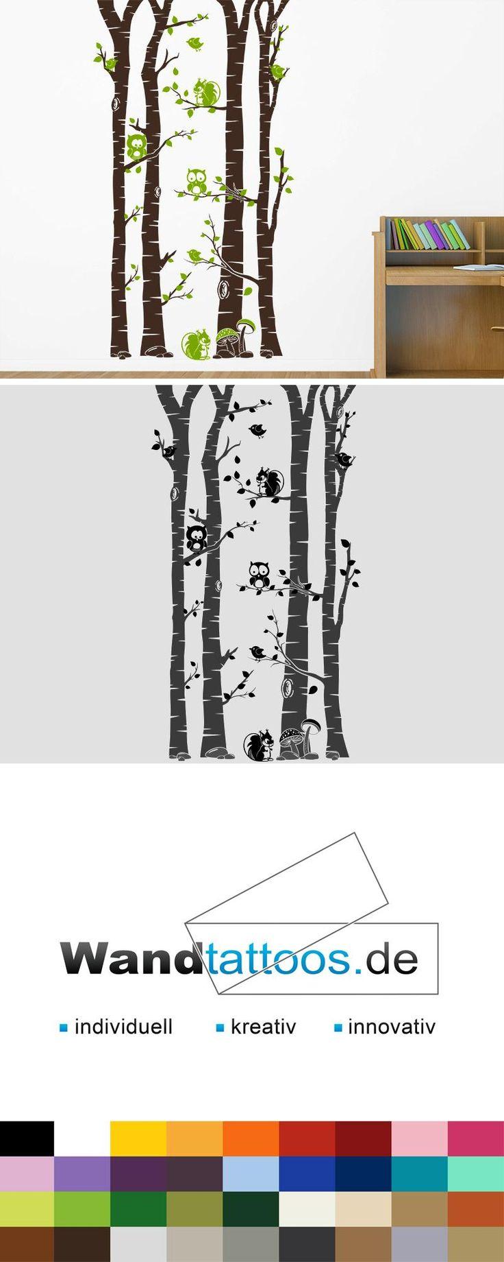 Lovely Wandtattoo Wald mit Waldbewohnern als Idee zur individuellen Wandgestaltung Einfach Lieblingsfarbe und Gr e ausw hlen