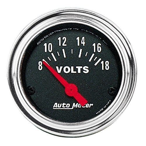 Auto Meter 2592 Traditional Chrome (Grey) Electric Voltmeter Gauge