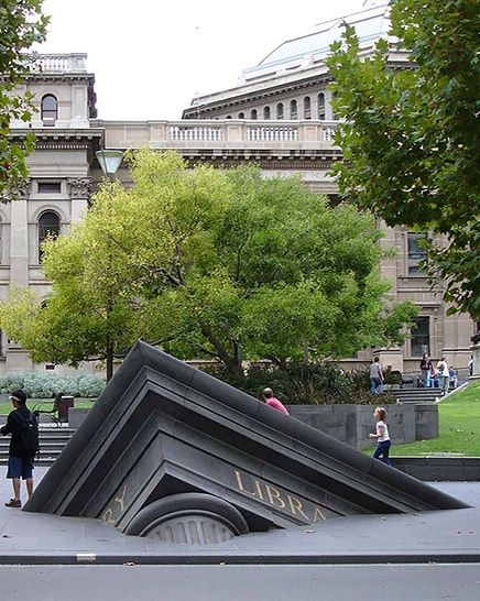Sinking Building Outside State Library, Melbourne, Australia