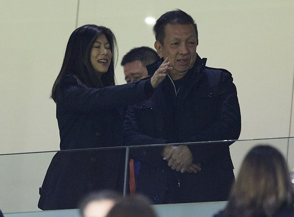 Owner of Valencia CF Peter Lim and his wife Cherie Lim attend the La during the La Liga match between Valencia and Barcelona at Estadio Mestalla on November 26, 2017 in Valencia, Spain.