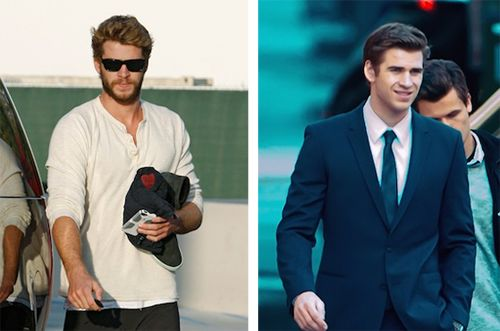 Liam with and without a beard aka Liam looking hot and hotter. http://www.twistmagazine.com/2013/04/liam-hemsworth-beard-shaved.html