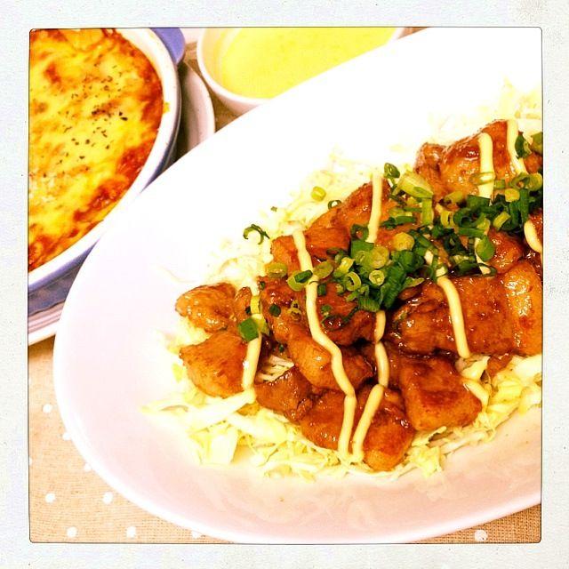 ラザニアは餃子の皮で…簡単で美味しかった〜♡ - 10件のもぐもぐ - 豚バラ照り焼き・ラザニア・かぼちゃスープ♫ by arika123