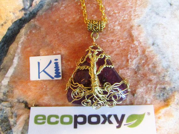 Orgone Resin  Tree of Life Pendant Triangle Pyramid Brass Wire