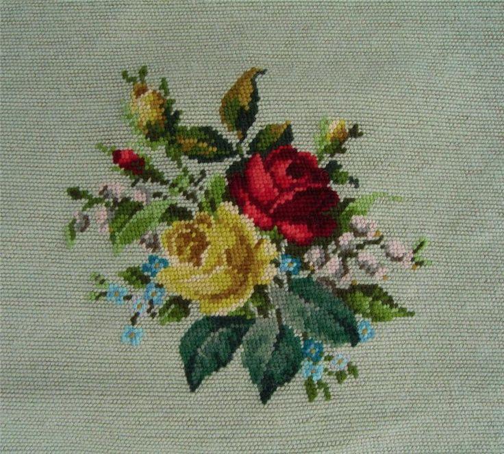 """Vtg Finished 18"""" x 18.5""""  Needlepoint Floral Rose Design"""