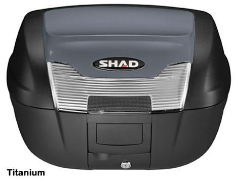 """Shad SH-40 motorcycle top case in titanium. Designed to attach to most flat luggage racks. Its dimensions are: 16.7"""" L x 19.3"""" W x 11.6"""" H and has a 40 liter capacity. Your price is $188.95. With Free Shipping."""