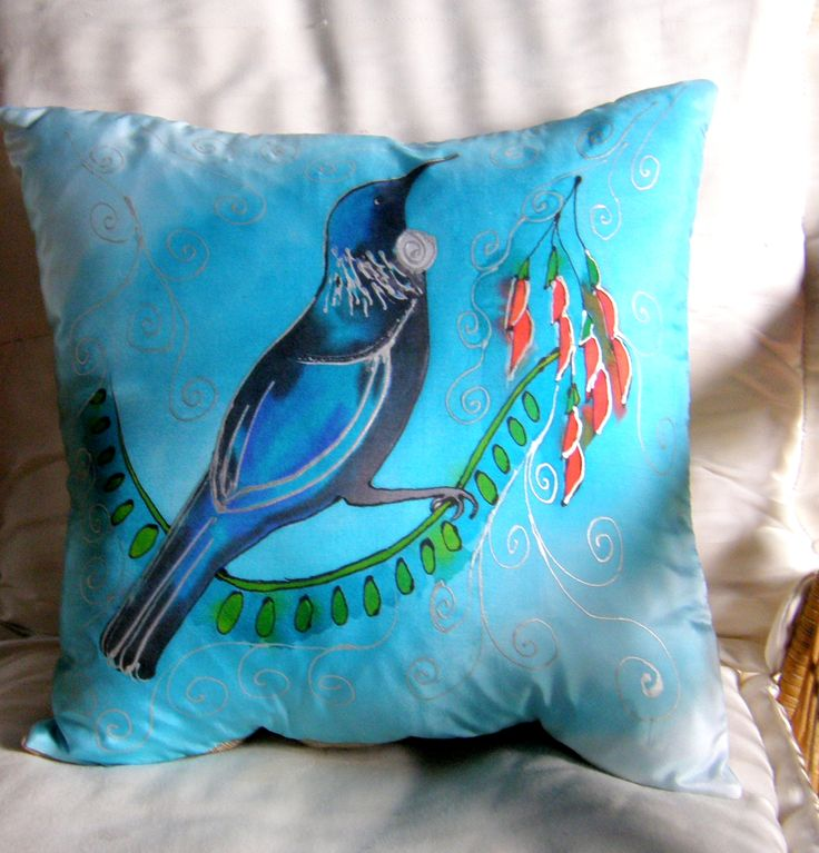 Take a FREE SPIRIT to LUXUROIUS Heights. Our New Zealand Tui bird as a luxury cushion. www.satherleysilks.co.nz https://www.etsy.com/uk/shop/KiwiSilks?ref=hdr_shop_menu