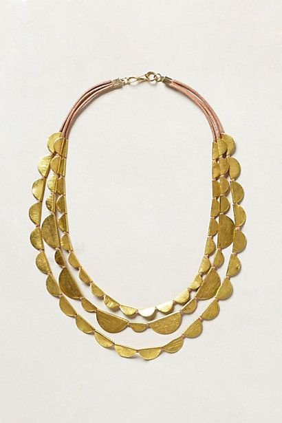 layered scalloped brass necklace