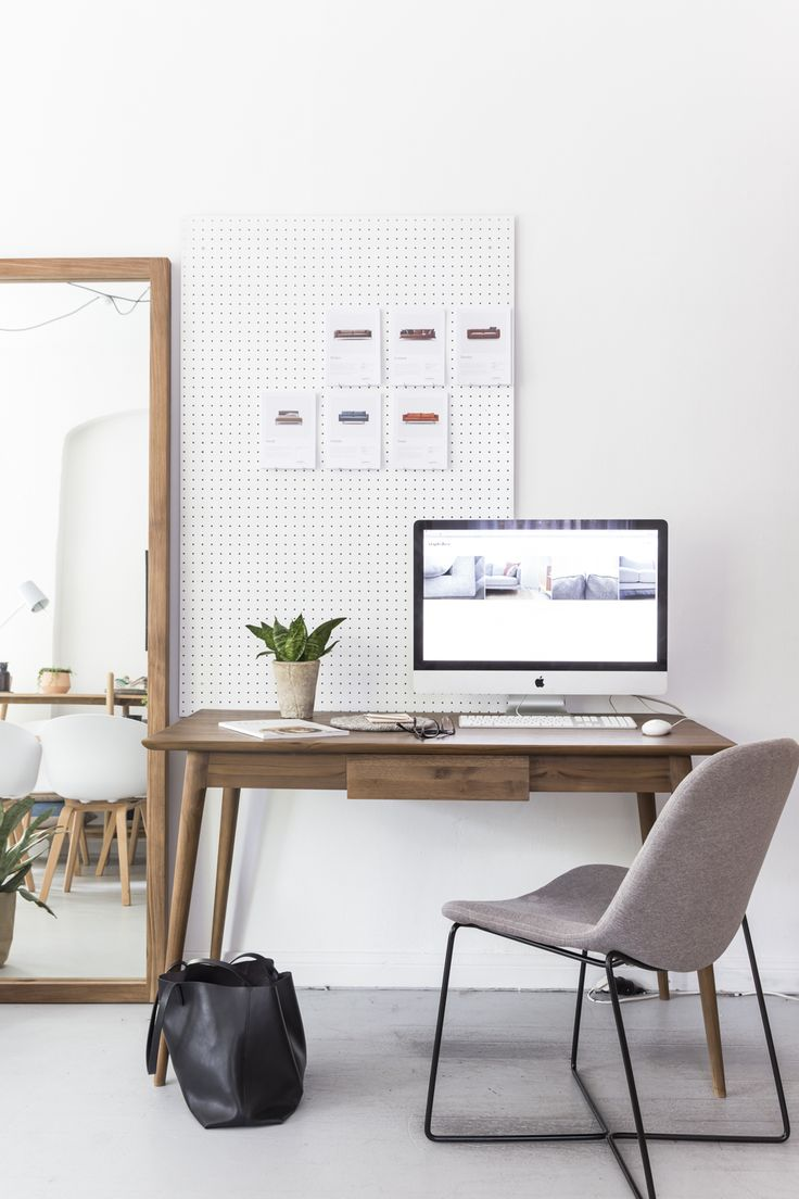 Every apartment needs a stylish study nook. We've added the Violet chair, (which we sit on in the office too) to the Arctic Writing Desk. The leaning mirror adds much needed depth to our cosy space.