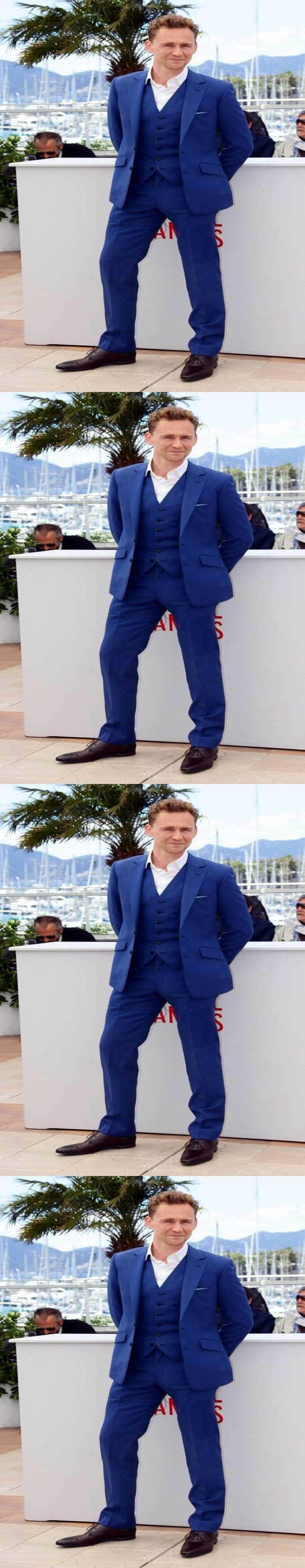New Design Notch Collar Royal Blue Men Suits 2017 Vintage Italian Style Best Men Tuxedos For Weddings (Jacket+Pants+Vest+Tie) #menssuitsvintage
