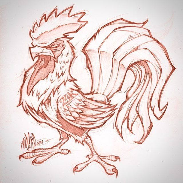 Rooster sketch. Client WIP #rooster #tattoo #logo #mascot #design #pencils #art #graffiti