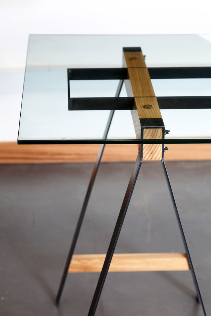 Glass Trestle Table