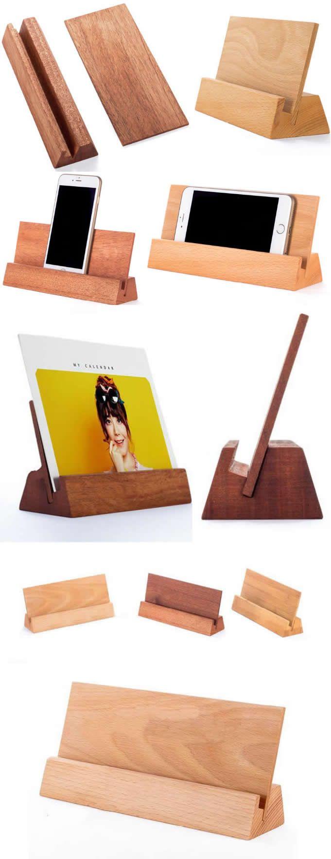 Bamboo Wooden Place Card Holder Photo Card Holder Iphone Ipad Smart Phone Holder Dock Busines Wooden Place Card Holders Business Card Displays Diy Phone Holder