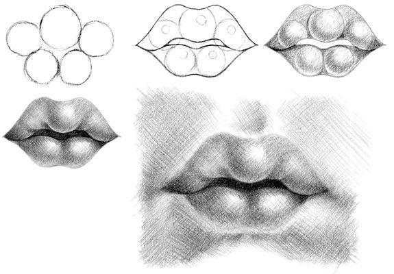 Как научится рисовать карандашом губы понемногу - Какая прическа ...