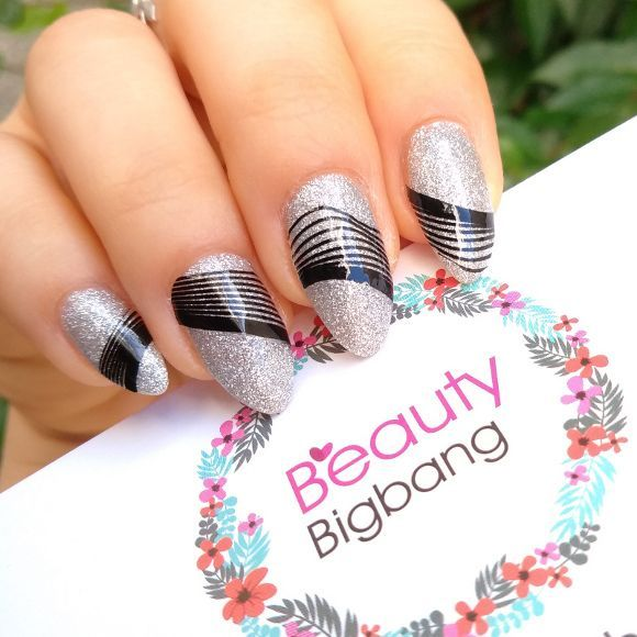 Nail Art Silver And Black Stripes With Nail Stickers Beauty Bigbang B