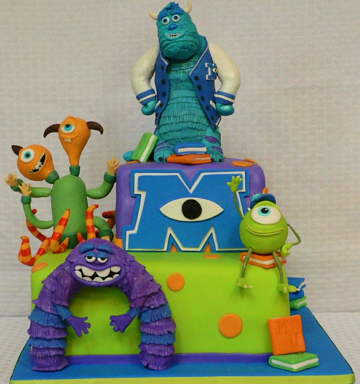 Monsters University Baby Shower Cake! - Each character from the movie is made of Rice Crispies and fondant, everything is edible! :)