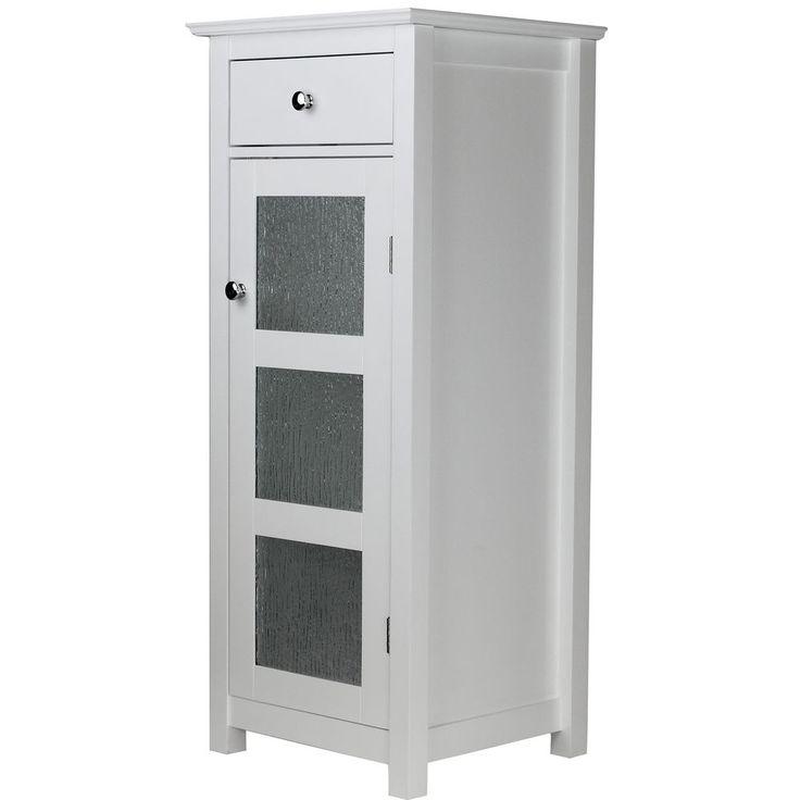 Free Standing Bathroom Cabinet White Storage Organizer Elegant