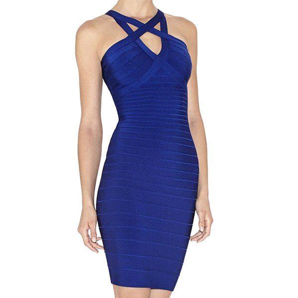 Sexy Style Straps Blue Bodycon Women's Bandage Dress - BLUE L