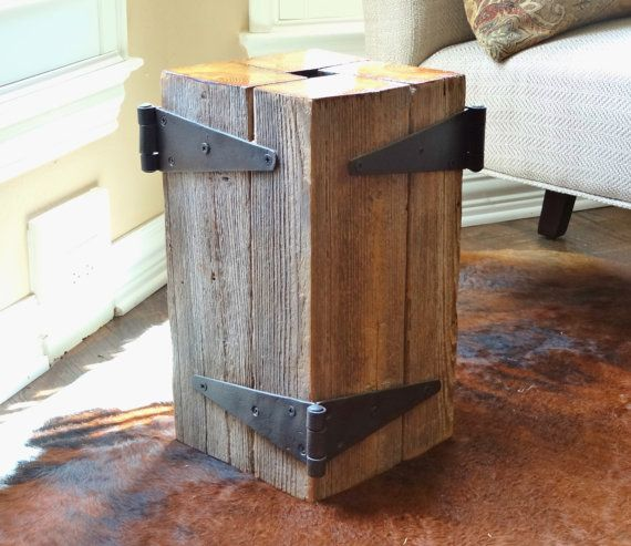 Reclaimed Vintage Barn Beam Lamp Table with Reclaimed Rusty Hinges Truly Unique