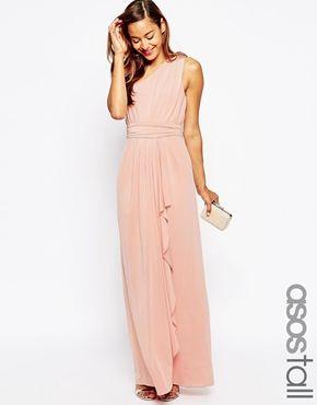 ASOS TALL WEDDING - Vestito monospalla lungo sexy e aderente