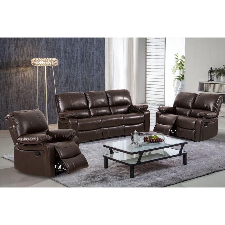 Samantha Leather Gel 3 Piece Reclining Sofa Set With Swivel Rocker Recliner  Chair (Dark