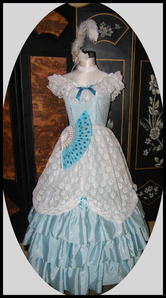Vintage Cinderella Style 70s Prom Dress for RENT Halloween Costume Free Shipping Both Ways