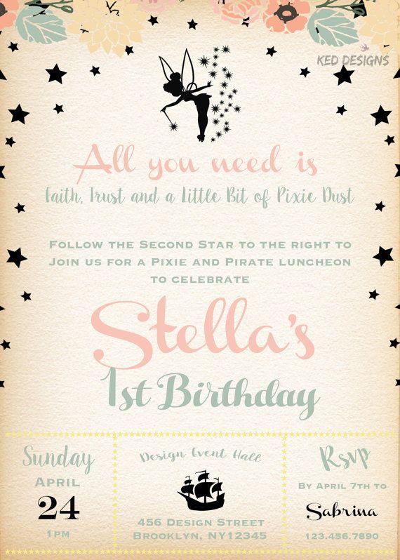Invitation-Printable-Pixie-Pirate-Birthday-Event-Pink-Floral wreath-Pixie Dust-Stars-Tinkerbell-faith-Trust-mint green-vintage feel-black