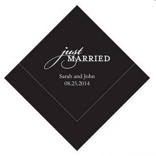 Serviette personnalisée Just Married Grand modèle (par 100) - MARIAGE ORIGINAL (DT COMPANY)