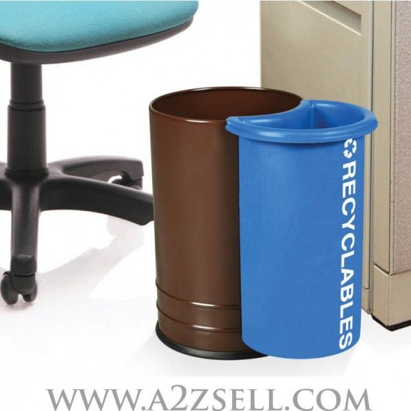Personal Recycling Bin – Unit Dimensions: 10″ x 15″  The Sidekick personal recycling bin is the best way to get involved with the environmental cause. This personal waste receptacle comes with a recycling container attached to it. The two separate containers connect by hooking the plastic recycling container onto the side of the steel container.  2 colors:  - Coffee Gloss Body With Recycle Blue Sidekick. - Silverstar Body With Recycle Blue Sidekick.  Buy On A2Z Sell
