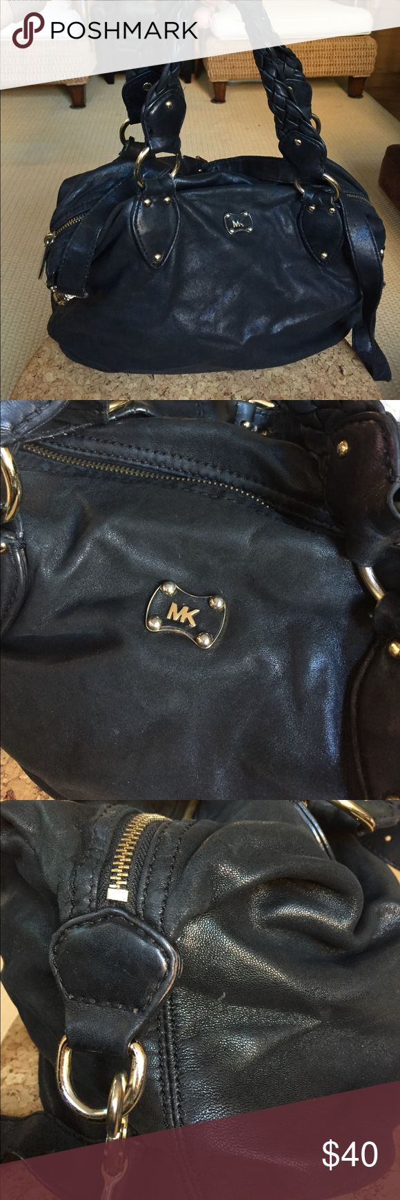 MICHAEL KORS ButterSoft Leather Bowling Satchel Used condition, priced accordingly - but the beautiful lambskin leather is SO soft, with some TLC could definitely have some life kissed back into it! Inside is really great condition, wear otherwise as pictured. Crossbody Strap as well! Michael Kors Bags Satchels
